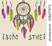 cards with dreamcatcher and...   Shutterstock .eps vector #328697873