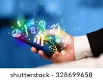 smartphone with finance and... | Shutterstock . vector #328699658