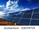 solar panels and cloudy sky... | Shutterstock . vector #328709729