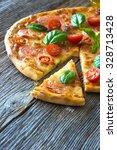 pizza with mozzarella  tomato... | Shutterstock . vector #328713428