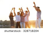 young people with beer on the... | Shutterstock . vector #328718204