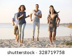 young people with beer on the... | Shutterstock . vector #328719758