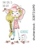 Style Girl With Cute Cat