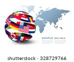 globe made out of flags on a... | Shutterstock .eps vector #328729766
