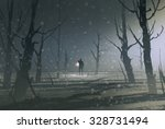 man holding lantern stands in... | Shutterstock . vector #328731494