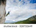 breakdown on a rock. climbing...   Shutterstock . vector #328732649