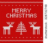 Knitted Red Christmas Background