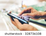 closeup image with male hands... | Shutterstock . vector #328736108