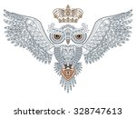 Tattoo. Owl With Open Wings An...
