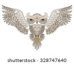 tattoo. owl with open wings and ... | Shutterstock .eps vector #328747640