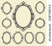 set of oval and round vintage... | Shutterstock .eps vector #328748414