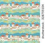 seamless pattern with houses | Shutterstock .eps vector #328755104