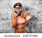Happy Young Woman With Snorkel...