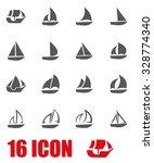 vector grey sailboat icon set.  | Shutterstock .eps vector #328774340