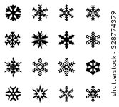 vector black snowflake icon set. | Shutterstock .eps vector #328774379