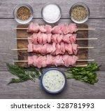Fresh Raw Chicken Pieces On...