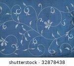 Embroidery On Blue Silk  Desig...