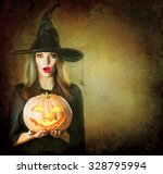 halloween surprised witch with... | Shutterstock . vector #328795994