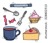 muffin  cake  cup  sugar and... | Shutterstock .eps vector #328802513