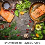 Salmon Fillet On Rustic Kitche...