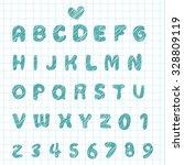 hand sketch alphabet font and... | Shutterstock .eps vector #328809119