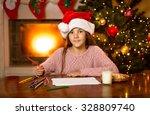 portrait of cute girl waiting... | Shutterstock . vector #328809740
