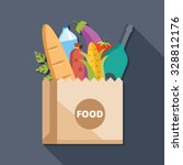 paper bag with food flat... | Shutterstock .eps vector #328812176
