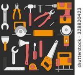 set of hand tools in flat style   Shutterstock .eps vector #328820423