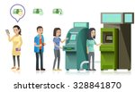people are lining up to use atm ... | Shutterstock .eps vector #328841870