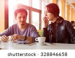 young couple at coffee shop... | Shutterstock . vector #328846658