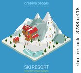 flat 3d isometric style ski...