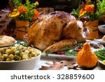 roasted turkey garnished with... | Shutterstock . vector #328859600