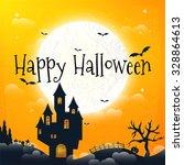 dark house on blue full moon....   Shutterstock .eps vector #328864613