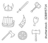 set of cartoon hand drawn icons ... | Shutterstock .eps vector #328895714