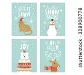 set of  greeting christmas card  | Shutterstock .eps vector #328900778