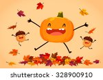 illustration of happy pumpkin... | Shutterstock .eps vector #328900910