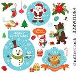 vintage christmas poster design ... | Shutterstock .eps vector #328901084