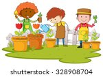 Gardeners Planting Tree And...