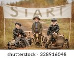 three little boys racers...   Shutterstock . vector #328916048