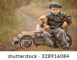 boy racer with a triumphant cup ... | Shutterstock . vector #328916084
