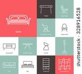 collection of outline modern... | Shutterstock .eps vector #328916528