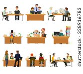 concept of the coworking center.... | Shutterstock .eps vector #328916783