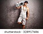 young male rapper in hip hop...   Shutterstock . vector #328917686