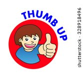 thumb up man cartoon vector | Shutterstock .eps vector #328918496