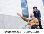 happy disabled senior man in a... | Shutterstock . vector #328923686