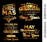 christmas set gold merry... | Shutterstock .eps vector #328925114