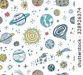 space. vector seamless pattern. ... | Shutterstock .eps vector #328926374