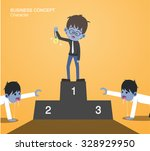 zombie businessman standing on... | Shutterstock .eps vector #328929950