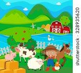 Farmer And Farm Animals On The...