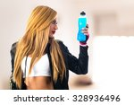 Sport Woman Holding Energy Drink